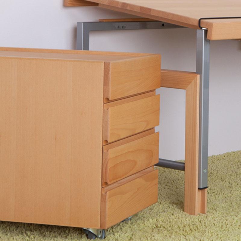 Schreibtisch Ziggy natur rollcontainer mit 4 auszügen